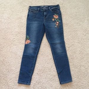 Mid-Rise Embroidered Skinny Ankle Jeans